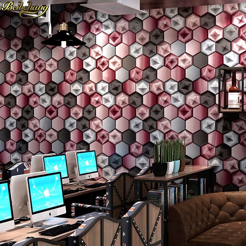 Beibehang cubique papier peint abstrait géométrique graphique KTV Flash Bars boîte thème Internet café décoration papier peint papel de parede