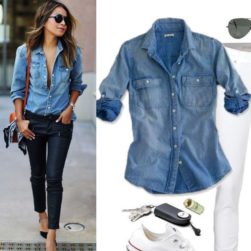 Fashion Women Casual Blue Jean Denim Long Sleeve   Shirt   Tops   Blouse   Pocket