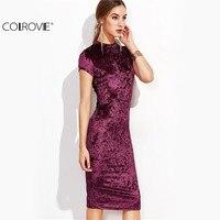 COLROVE Fashion Dress For Women Clothing Women Office Dresses Burgundy Mock Neck Cap Sleeve Velvet Pencil