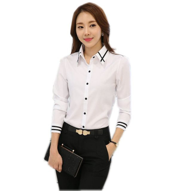 Elegant Women Career Blue White Shirts Plus Size S-5XL Long Sleeve Button Design Women blusa 2018 Office Classic Lady Blouses