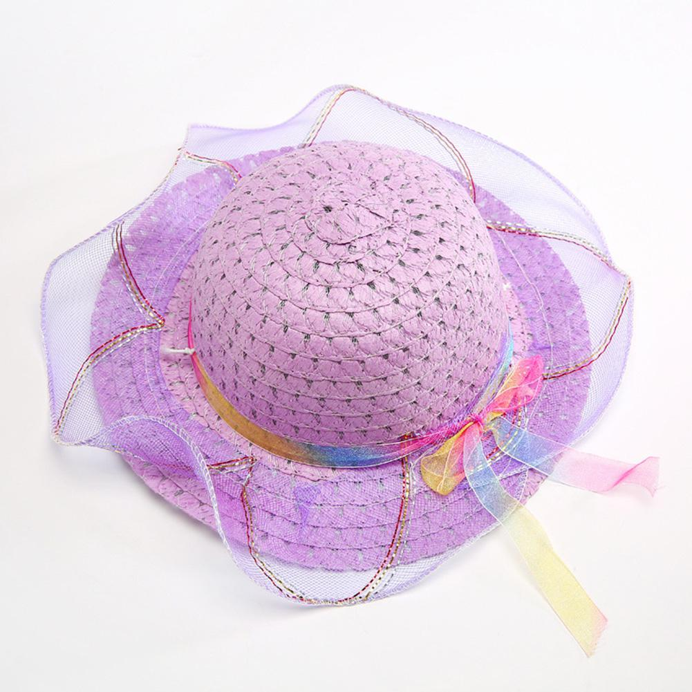 The Best Children Sun Hats Girls Fashion Creative Straw Cap Bowknot Chiffon Decoration Sun Hat Ultraviolet-proof Beach Cap Yi0 Apparel Accessories