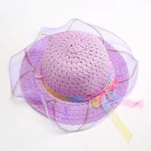 Bambini Cappelli da Sole Ragazze di Modo Creativo Cappello di Paglia di  Bowknot Chiffon Decorazione Del a7dc87fc223b