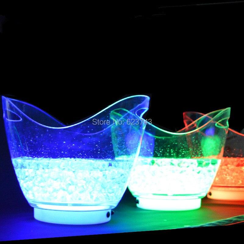 Nouveau produit 4 pièce/lot couleur unique rechargeable lumineux 8L LED seau à glace champagne bière seau à glace pour la décoration des barres