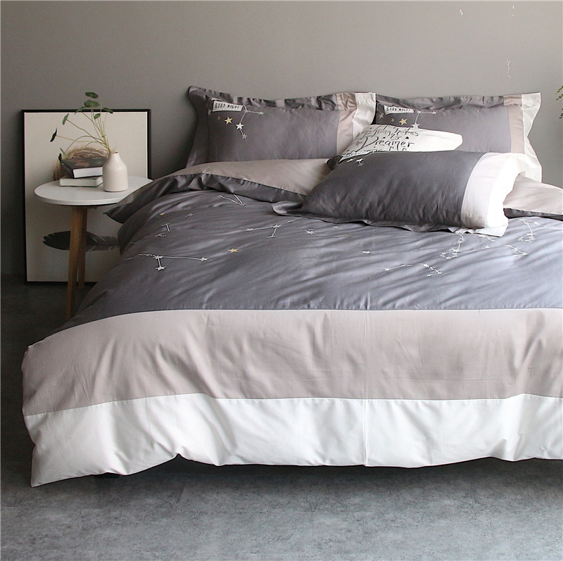 Super King Size Duvet Cover Egyptian Cotton Sweetgalas: Gray Constellation Bedding Set Super Soft Egyptian Cotton
