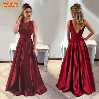 Sexy Burgundy Evening Dress Long 2019 Special Occasion Formal Dresses Scoop Satin Lace Appliques A-line Evening Gowns Customized
