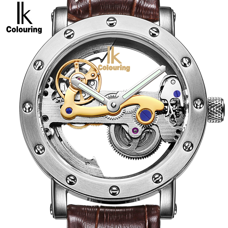 IK Luxury Automatic Mechanical Watches Men Silver Genuine Leather Skeleton Watch Clock Military Sport Watch relogios masculino winner skeleton mechanical watch luxury men black waterproof fashion casual military brand sports watches relogios masculino