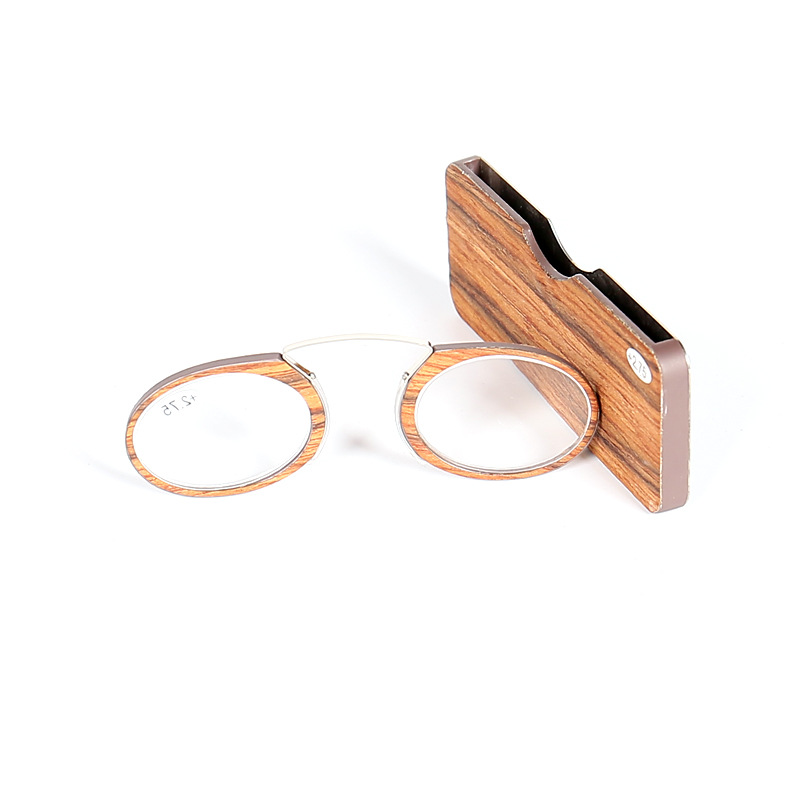 Vintage Oval Round Wood Readers Nose Clip Pince Nose Reading Glasses and Glasses Case comfortable 1.0 1.5 <font><b>2.0</b></font> <font><b>2.5</b></font> 3.0 LH239 image