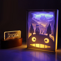 Totoro מדהים 3D גילוף נייר מגולפת אור Led לילה נוריות שלט רחוק מקרן אורות שולחן ליד מיטת מנורת יום הולדת מתנה