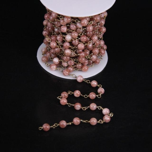 96236d70c 5Meter,Flash Sunstone Round bead Rosary Chain,Natural Peach Moonstone Brass Wire  Wrapped Chains DIY Women Sweater Chain