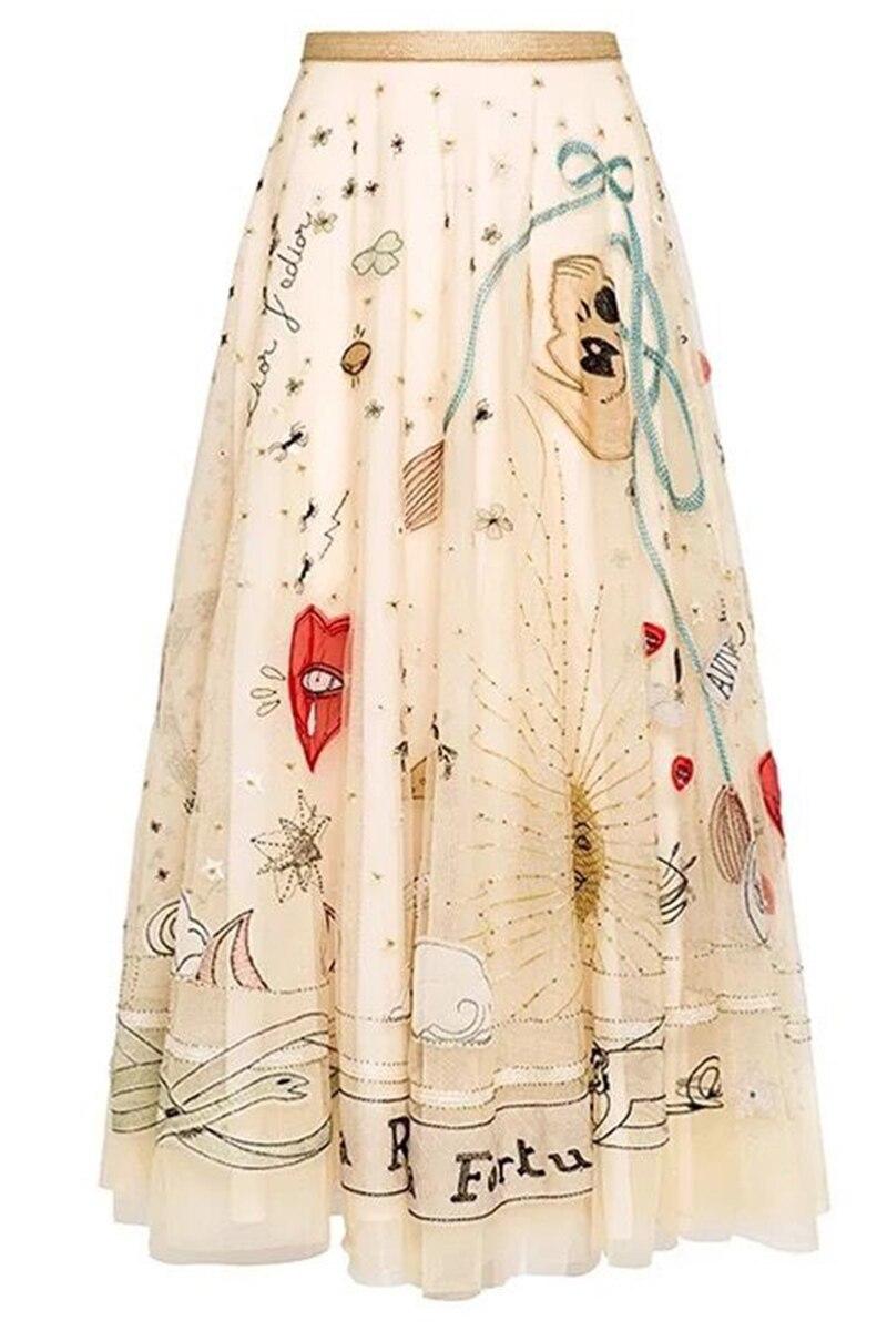 الفاخرة تنورة عالية quaity النساء التطريز شبكة تنورة-في تنورة من ملابس نسائية على  مجموعة 1