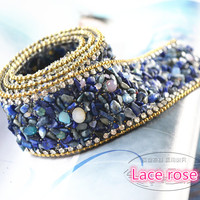 High Quality Blue Lace Trim Wedding Dress Clothing Decorative Accessories Iron On The Clothes Or Sew
