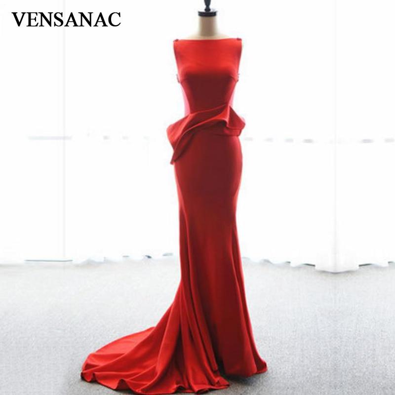 VENSANAC 2017 New Mermaid Ruffles Boat Neck Long Evening Dresses Tank Sleeveless Elegant Sweep Train Party Prom Gowns