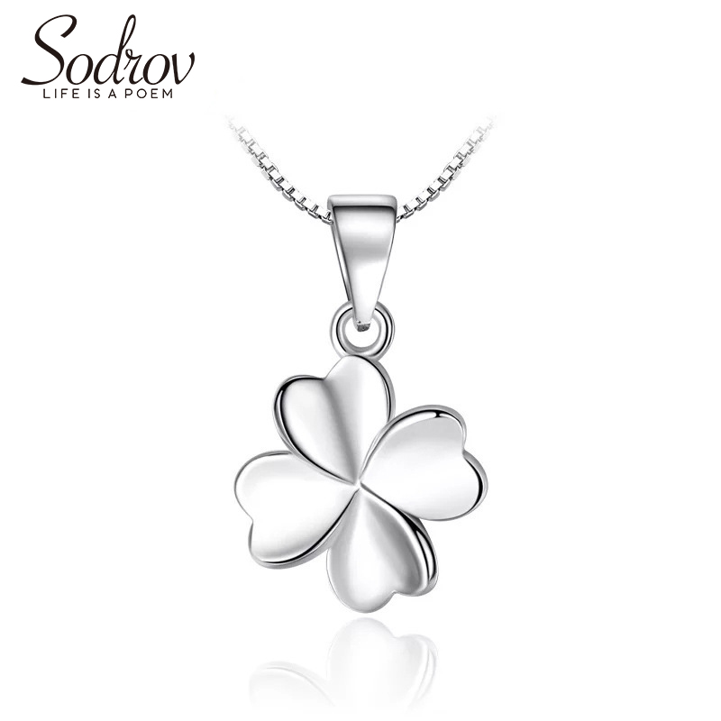 Sodrov Authentic 925 Sterling Silver Four Leaf Clover Charm Necklace Ladies Lucky Jewelry