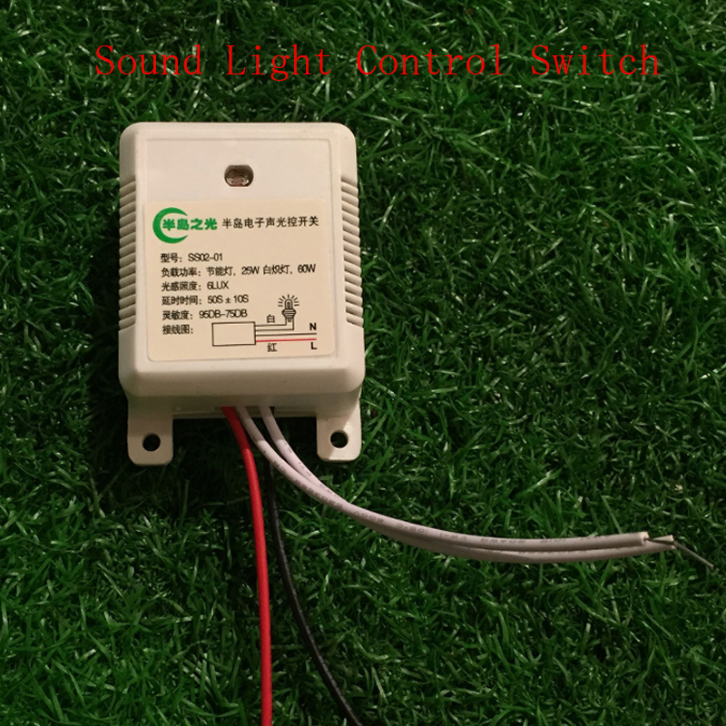 AC220V Built-in Sound Control Switch for Ceiling Light 60s Delay Time Voice Operated switch high quality sound and light control switch delay 60s sensor switch 220v ac 50hz 60w 25w 5w 95db 75db free shipping