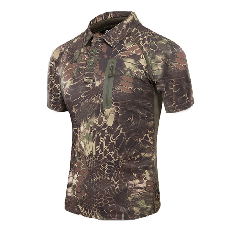 PAVE HAWK Men Tactical Military Camouflage T Shirt Outdoors Camping & Hiking Men Breathable Quick Dry Python Combat T Shirt Tees