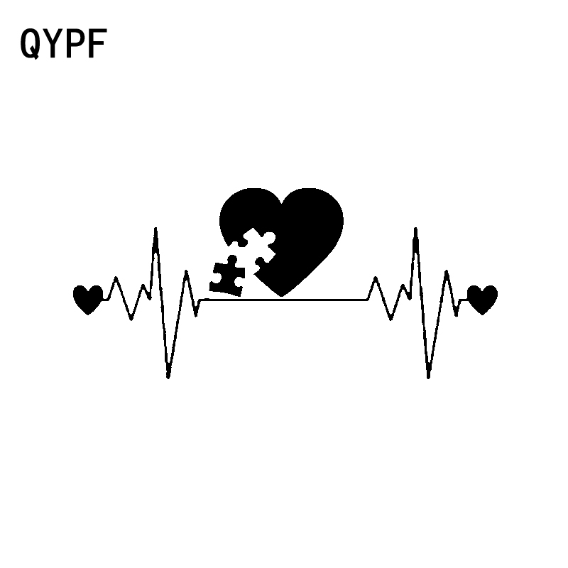 QYPF 14.3CM*6.4CM Fashion Autism Lifeline Decal Black Silver Vinyl Car Sticker Graphical C15-3294