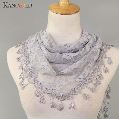 KANCOOLD Scarf Women Lace Tassel Rose Floral Hollow Scarves Shawl Lady Wraps Nylon High quality scarf women 2018Nov2 Multan