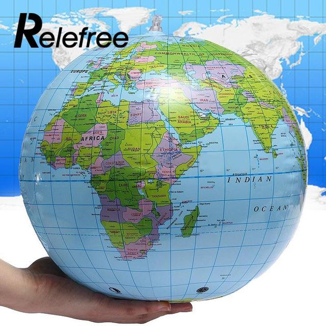 relefree 30cm inflatable pvc world globe earth map geography aid beach ball toy water sport swimming