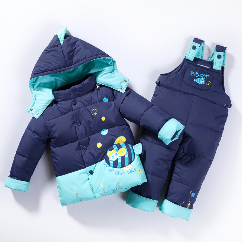 Winter Warm Down Jackets For Girls Boys Children Clothing Sets Coat+Pants Fish Cartoon Parka Jackets Snow Fashion Kids Clotes 3 2016 winter boys ski suit set children s snowsuit for baby girl snow overalls ntural fur down jackets trousers clothing sets