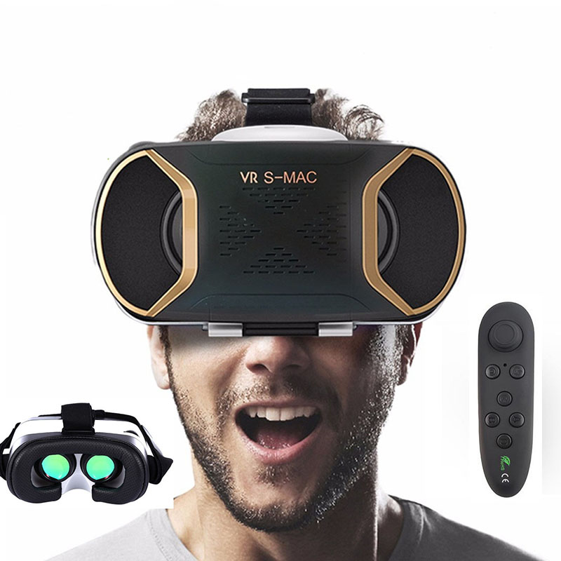 VR Virtual Eyes 3D Virtual Reality Glasses VR Headset with Control Green/Blue Lens for SmartPhones Video Viewer Spectacle Cases
