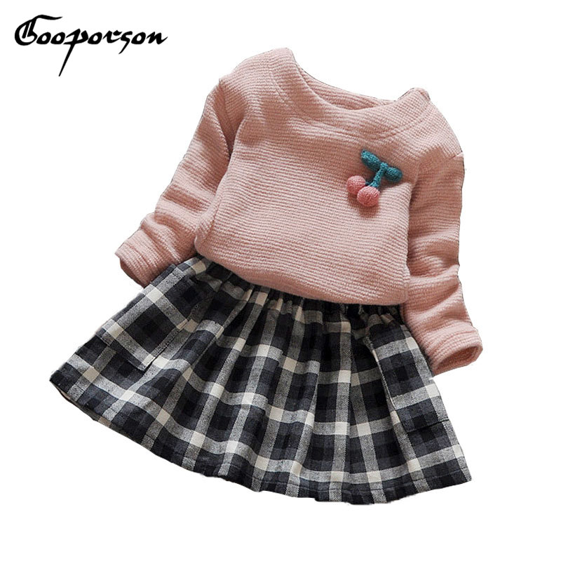 Baby Girls Clothing Set Long Top Sleeve Shirt Tutu Plaid Skirt Kids Princess Clothes Set Cherry Children 2 Pcs Sets Pink Blue 2pcs children outfit clothes kids baby girl off shoulder cotton ruffled sleeve tops striped t shirt blue denim jeans sunsuit set