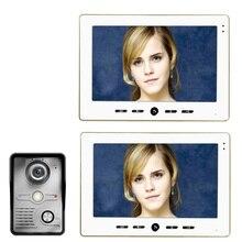 """משלוח חינם 10 """" אינץ צבע דלת וידאו טלפון הפעמון אינטרקום ערכת 1 מצלמה 2 monitor ראיית הלילה"""