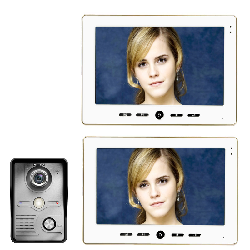 "FREE SHIPPING 10"" Inch Color Video Door Phone Doorbell Intercom Kit 1 camera 2 monitor Night Vision-in Video Intercom from Security & Protection"
