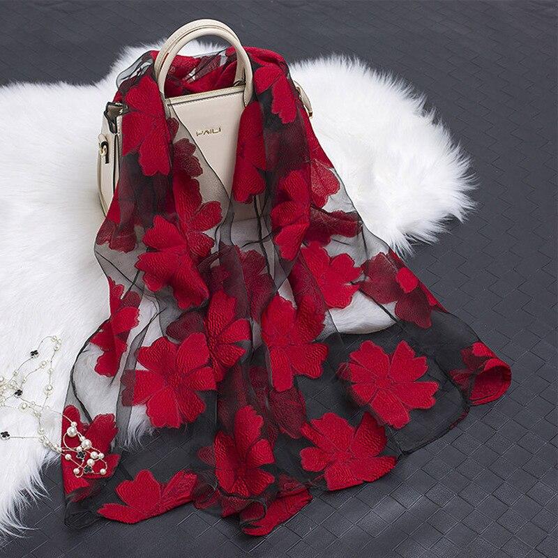 Women's Scarf Spring Summer Light Weight Sheer Silk Scarf Sunscreen Organza Scarf Summer Wraps