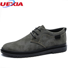 UEXIA Casual Flats Shoes Men Loafers Mocassin Pointed Toe Male Soft Microfiber Leather Boats Walking Fashion Lace-up Breathable