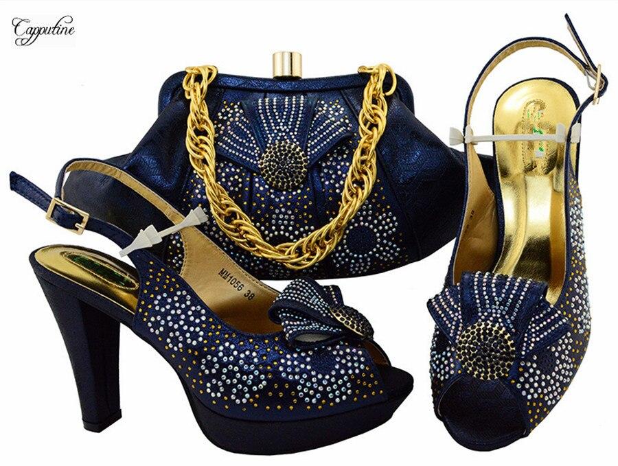 Новое поступление темно-синие высокий каблук туфли-лодочки с сумочкой комплект для вечерние mm1056, высота каблука 10.5 см