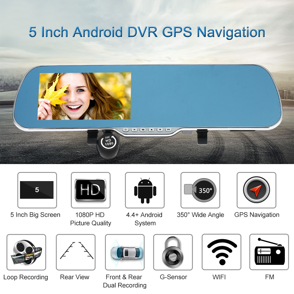 """imágenes para Navegación GPS 5 """"Android Inteligente Sistema de Navegación Del Coche Del Espejo DVR de Doble Lente de la Cámara Grabadora de Coche de La Visión Nocturna de Detección Gps"""