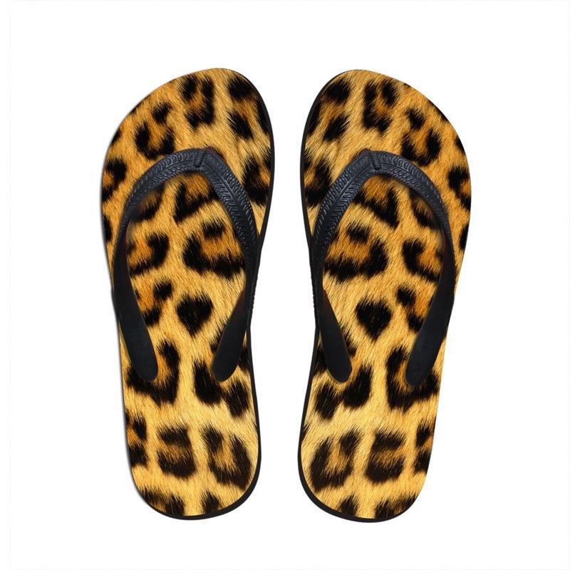 Designer Men Flip Flops Novelty Animal Leopard Fur Print -6339