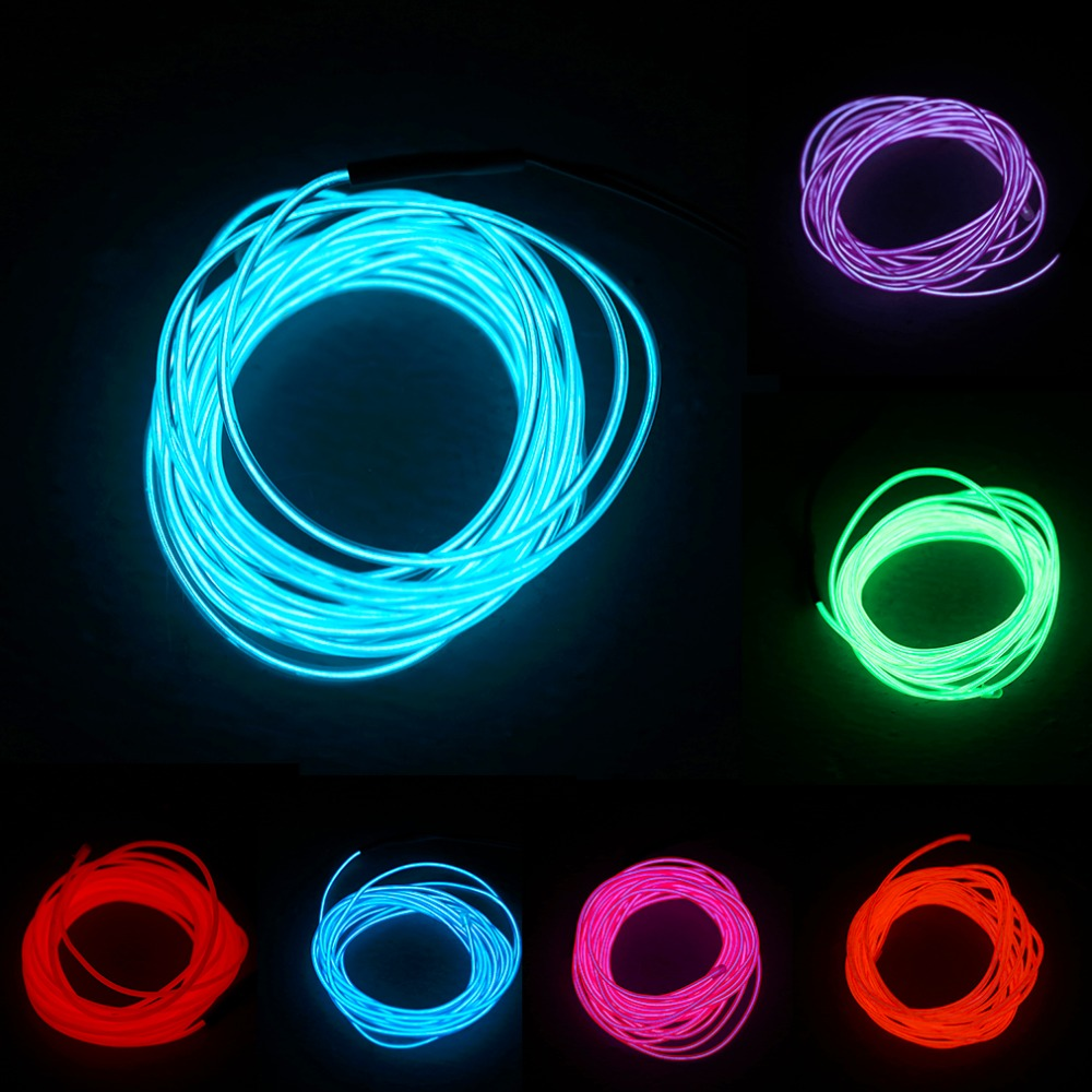 5M 3-12V Flexible Neon Light Glow EL Wire Rope tape Cable Strip LED Neon Lights Shoes Clothing Car waterproof led strip New car cigarette lighter powered flexible neon light glow el wire w drive yellow dc 12v 2m