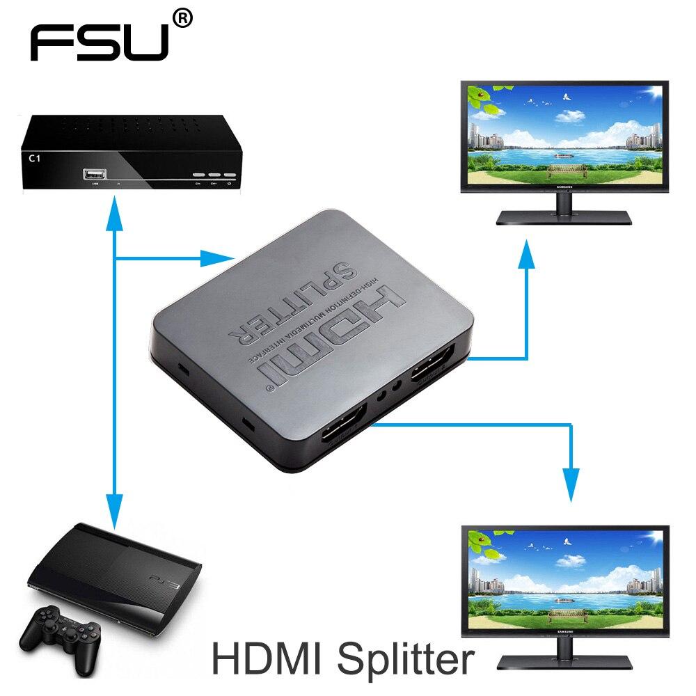 HDCP 4 K HDMI Splitter HDMI Full HD 1080 p HDMI Switcher 1x2 split 1 en 2 fuera Amplificadores dual display para HDTV DVD PS3 Xbox