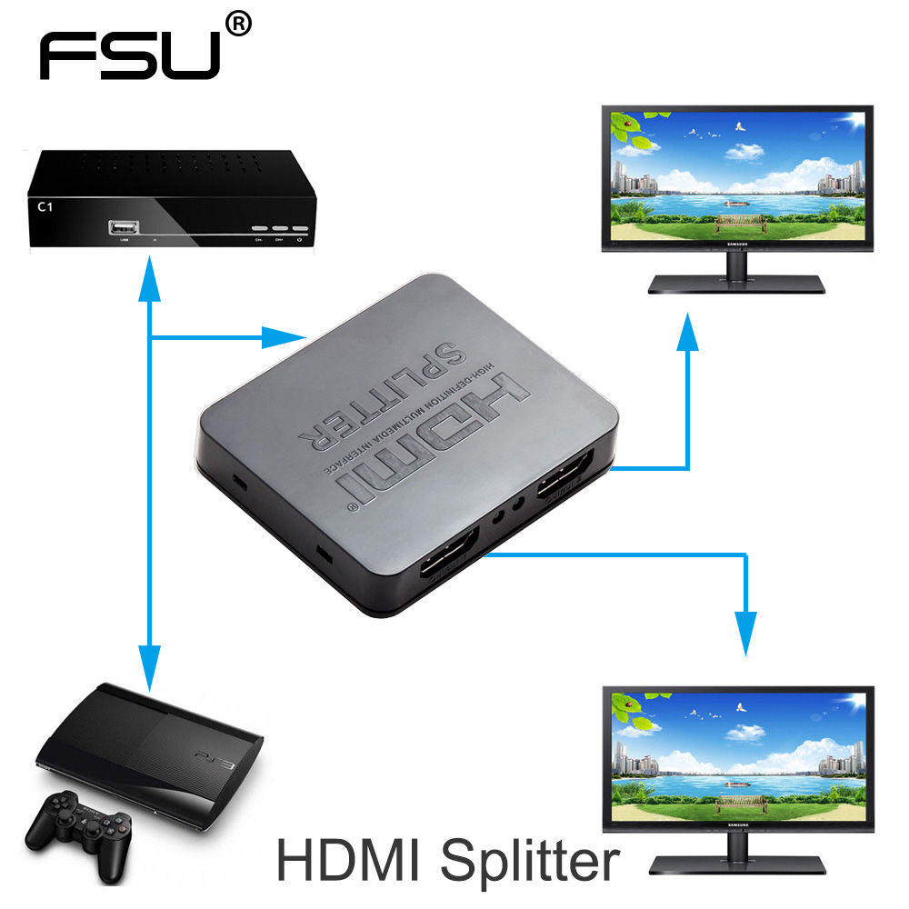 HDCP 4 k HDMI Splitter Full HD 1080 p Video Switch HDMI Switcher 1X2 Split 1 in 2 out Amplificatore Doppio Display Per HDTV DVD PS3 Xbox