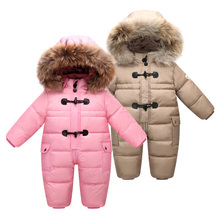 Winter Newborn Baby Boys Warm Snowsuit Filling 90% White Duck Down Infant Girl Fleece Lining Jacket Big Nature Fur Hooded Romper jumpsuit duck down hooded fur collarjackets for newborns snowsuit warm overalls wear infant kids girl winter romper clothing set