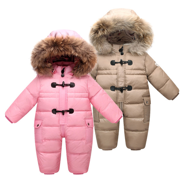 433bc4a330fb Winter Newborn Baby Boys Warm Snowsuit Filling 90% White Duck Down Infant  Girl Fleece Lining