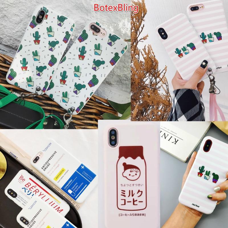 Für iphone XS Max fall Pflanze kaktus cartoon milch Polka Dot telefon abdeckung für iphone X XS XR 8 8 plus 7 7 plus 6 6 s plus 6 plus strap