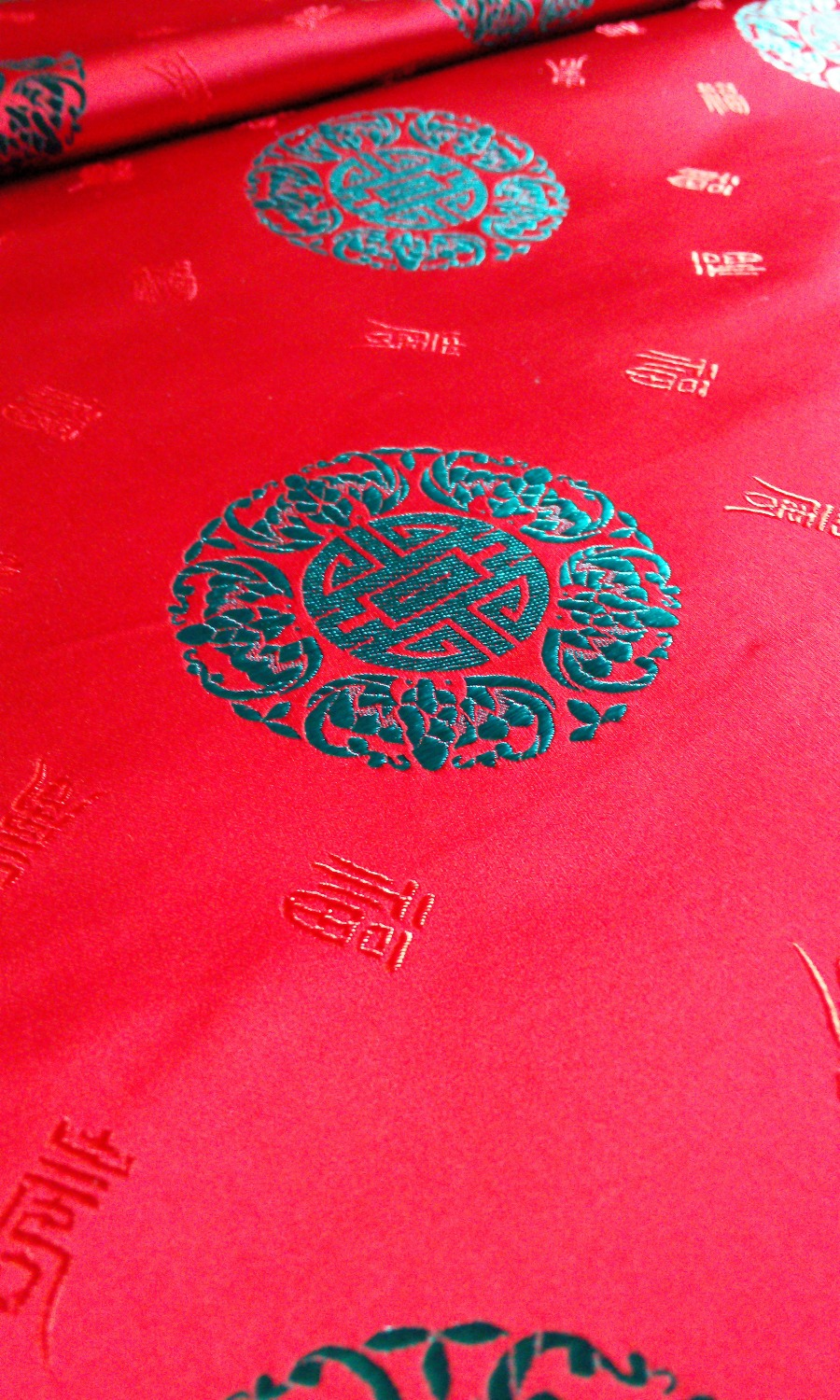 chinese traditional silk brocade fabric red back with dark green ...
