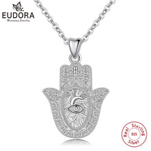 EUDORA 925 Sterling Silver Evil eye hamsa hand Pendant Necklace For Men Women Angel Caller Fine Jewelry for dropshipping CYD312(China)