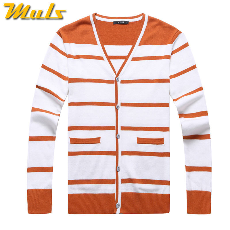 Stripe Cardigan Sweater Men V neck Orange Cashmere Cardigans ...