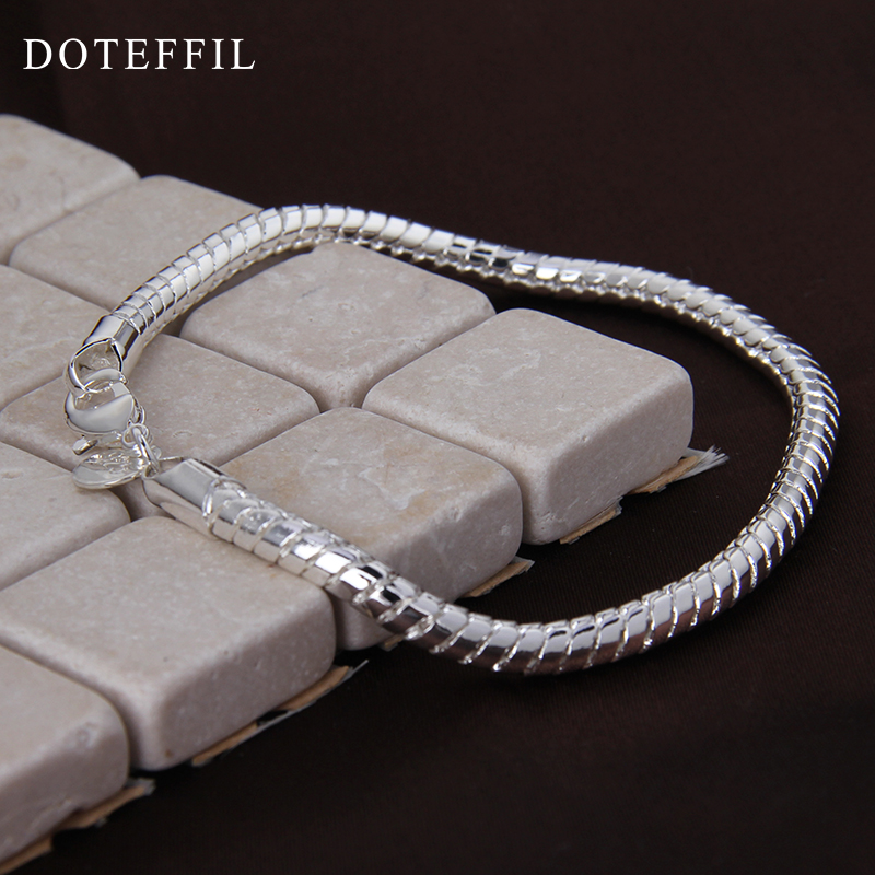 1 st 925 Sterling Silver Hummer Clasp Snake Chain Fit Europa Charm - Märkessmycken - Foto 6