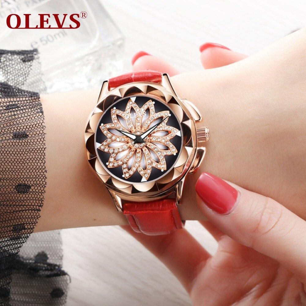 OLEVS Brand hollow out Ladies Watch Rose Gold Women Watches Elegant Skeleton Dial Rhinestone Waterproof Red Leather Female Clock