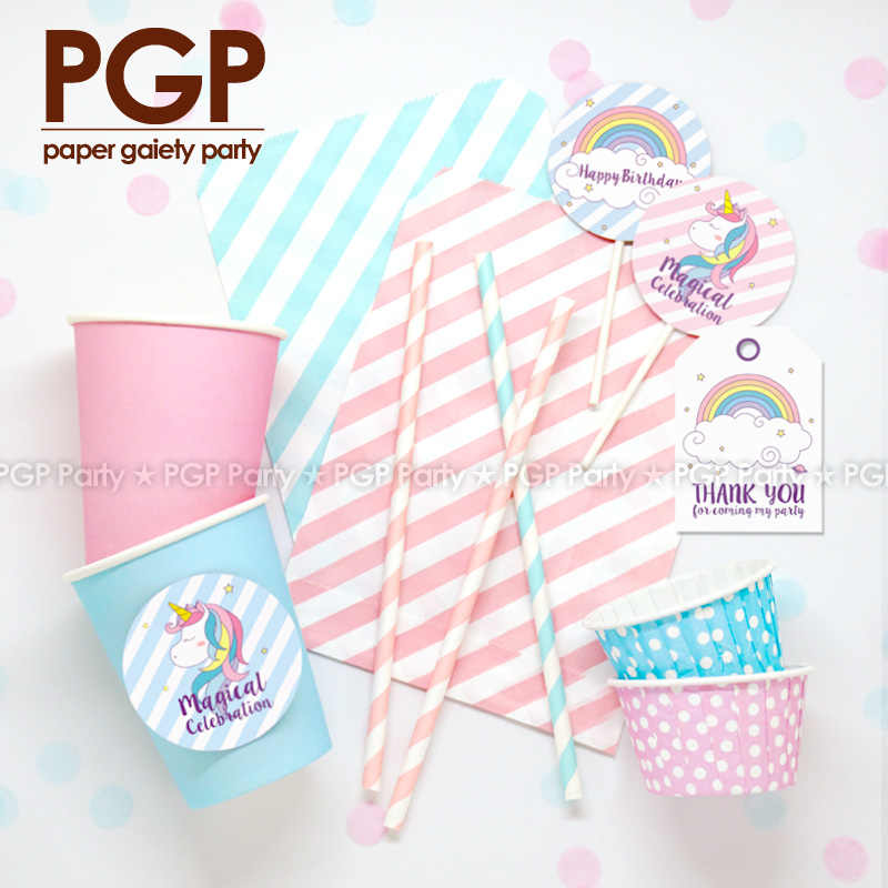 [PGP] Unicorn Parti Seti, kek Topper Etiketi Bardak Büyülü Rüya Gökkuşağı Pembe Mavi çocuk kız Erkek Doğum Günü Bebek duş dekorasyonu