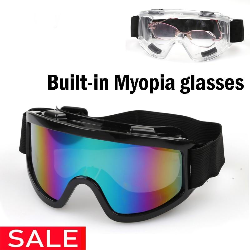 Outdoor UV400 Windproof Glasses Ski Glasses Dustproof Snow Glasses Men Motocross Riot Skiing Goggles Myopia Available