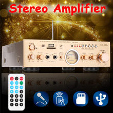 2 Channel Stereo Home Amplifier 600W 220V Audio Hifi bluetooth With VU Meter RC Support FM USB SD 4 Ohm 2CH(China)