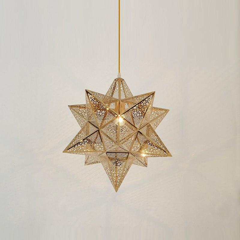 Modern Gold Pentagram Dining Room Stainless Steel Pendant Light Creative Restaurant Bar Counter Pendant Lighting Fixtures