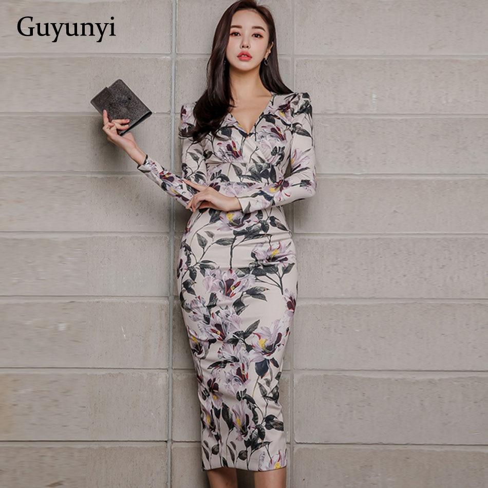 Athens Floral 2019 Spring Office Lady Dress V-Neck High Waist Mid-Calf Length Wrist Sleeve Pencil Women's Dresses