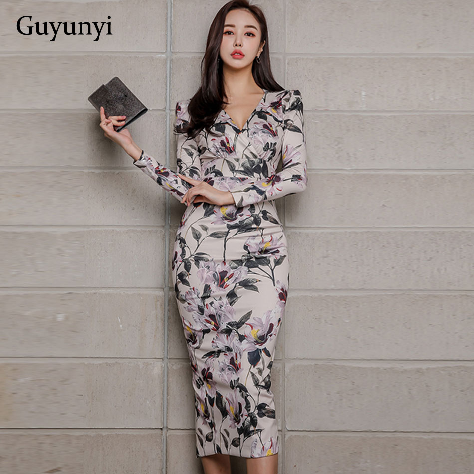Athens Floral 2019 Spring Office Lady Dress V-Neck High Waist Mid-Calf Length Wrist Sleeve Pencil Women's Dresses