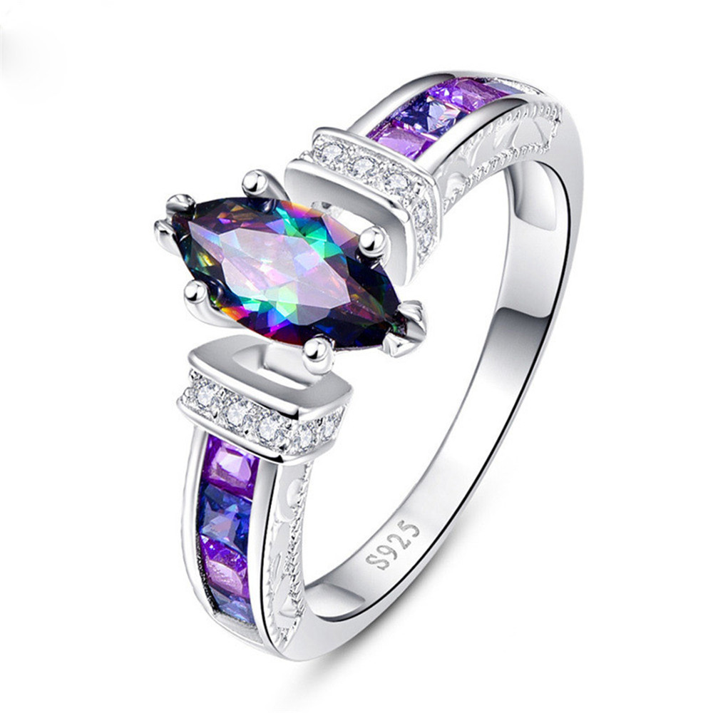 Huitan Special Marquise Shape Shiny Purple CZ Prong Setting Fashion Cocktail Party Rings for Women Size 6-10 wholesale lots bulk(China)